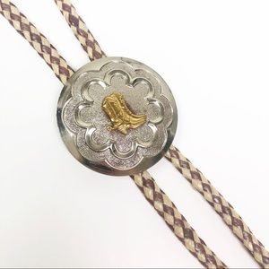 VINTAGE l Bolo Tie Silver with Gold Cowboy Boots